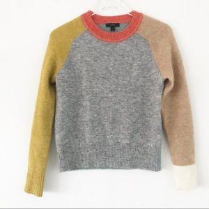 NWOT JCREW Patchwork gray orange sweater, Sz. XS